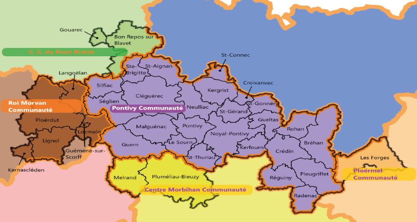 """Les 36 communes concernées par le Label Pays d'Art et d'Histoire """"Pays des Rohan""""."""