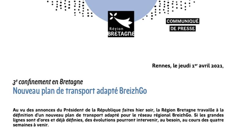 Adaptation du réseau BreizhGo suite à l'annonce du 3e confinement en Bretagne