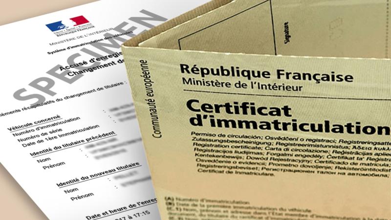 Démarches pour certificat d'immatriculation